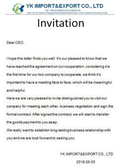 YK Import Invitation China