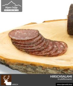 Hirschsalami im Pfeffermantel vom Alpenwild