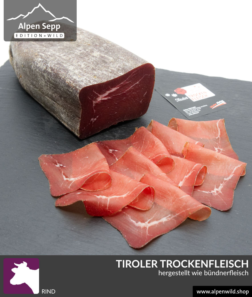 tiroler trockenfleisch hnlich b ndnerfleisch im shop kaufen alpen wild. Black Bedroom Furniture Sets. Home Design Ideas