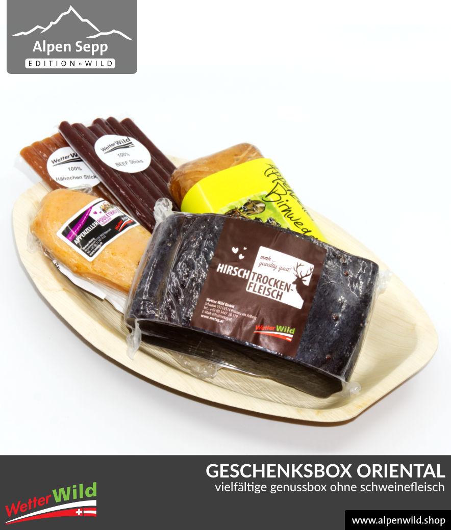 Geschenkbox ORIENTAL - ohne Schweinefleisch. 100% Genuss mit Rind, Hirsch, Huhn, Pute und edler Bäckerei aus der Schweiz.